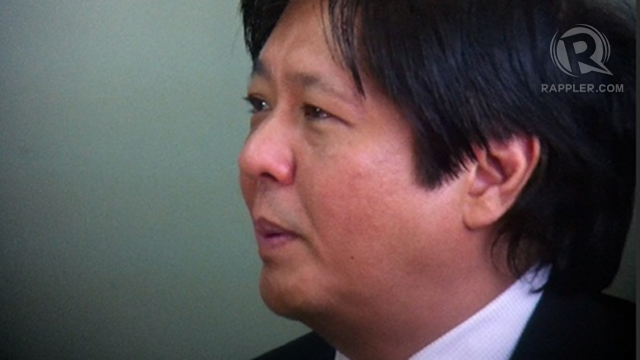 NOT REALISTIC. Sen Bongbong Marcos says the figures and computations used in the Drilon version of the sin tax bill are not realistic, will harm tobacco farmers and cause a spike in smuggling. Photo by Ayee Macaraig