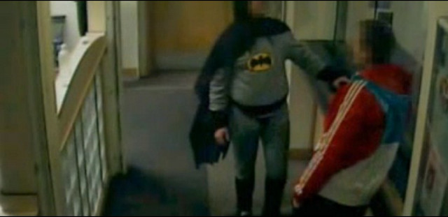 BRADFORD BATMAN. The man dressed as Batman is a takeout delivery guy named Stan Worby. Screengrab from Youtube (marthymamo)