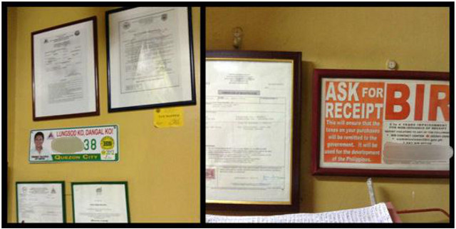 These are our restaurant's official business documents, which were recently released from the Bureau of Permits and Licensing Office of Quezon City Hall.