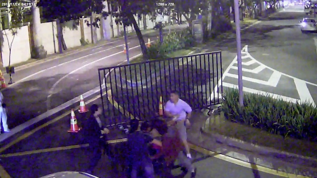 CAUGHT ON TAPE. This CCTV video shows the brawl that ended with the victim stabbed to death just outside of the upscale Rockwell residential area. Screenshot from video courtesy of Makati police