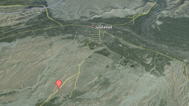 TRAGEDY IN AFGHANISTAN. Google Maps 3D image of Chaparhar district in Nargarhar province, eastern Afganistan