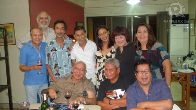 HAPPY FAMILY. This reunion happened in Noel's house as a despedida for Subas who was heading to New York. If I remember correctly, it was around 3 years back. Standing, from left: Noel Trinidad, Leo Rialp (one of our directors), German Salvador (one of our writers), Gary Lising, me, Mitch Valdez, and Tessie Tomas. Seated, from left: Subas, Ceasar Cosme (also one of our writers), and Leo Martinez who also was one of Champoy's directors.