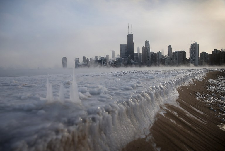 FROZEN CITY. Ice builds up along Lake Michigan at North Avenue Beach as temperatures dipped well below zero on January 6, 2014 in Chicago, Illinois. Scott Olson/Getty Images/AFP