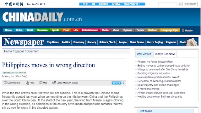 OFFICIAL MOUTHPIECE. China Daily is considered one of China's official mouthpieces, and all its articles are sanctioned by the ruling Communist Party. Screenshot from the China Daily website