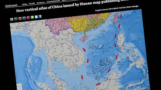 NEW MAP. A new Chinese map shows a 10-dash line to claim virtually the entire South China Sea. Screen grab from news.xinhuanet.com/Image edited by Rappler