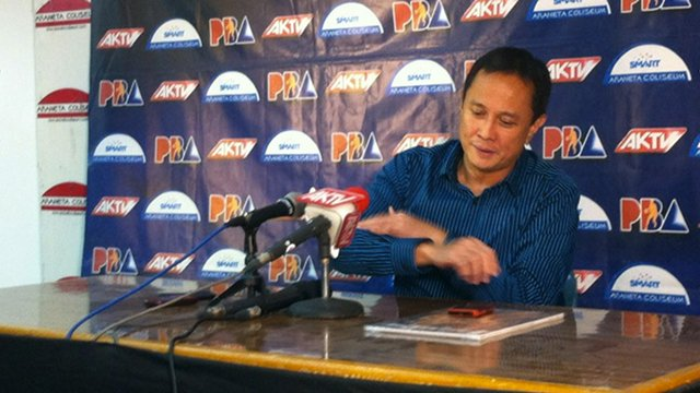 PBA Commissioner Chito Salud holding a press conference. File photo.
