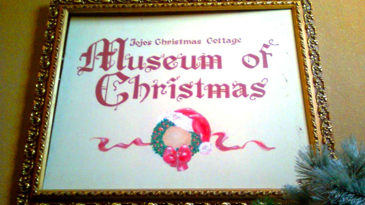 WELCOME 'HOME.' The welcome sign inside Jojo's Christmas Cottage