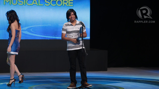 Kevin Dayrit of 'Catnip' accepting the award for Best Musical Score. The film went on to win 3 other awards.