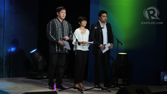 Phillip Salvador, Joyce Bernal and Sid Lucero presenting the second batch of awards