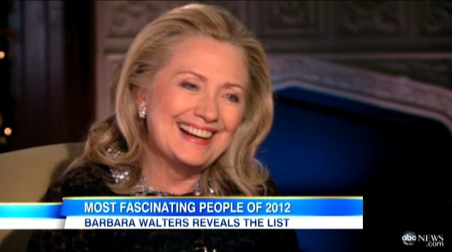 US Secretary of State Hillary Clinton laughs during an interview with ABC News' Barbara Walters, aired December 12, 2012. Frame grab courtesy of ABC News.