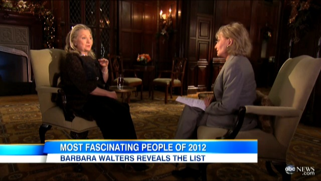 US Secretary of State Hillary Clinton speaks during an interview with ABC News' Barbara Walters, aired December 12, 2012. Frame grab courtesy of ABC News.