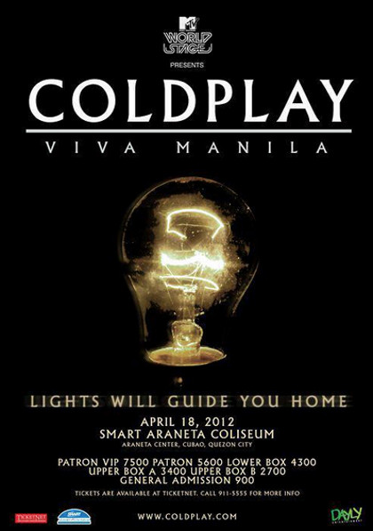 The fake poster that caused a big disappointment to Coldplay fans in December 2011 after it circulated on Facebook