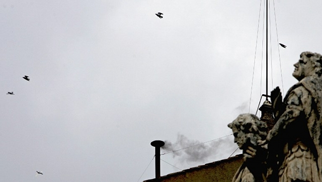NO POPE. Black smoke means cardinals will have to repeat the voting process. File photo from AFP