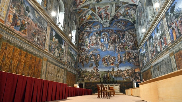 'POLLING PRECINCT.' Cardinals hole up in the Sistine Chapel starting March 12 until they elect a new Catholic leader. File photo from AFP