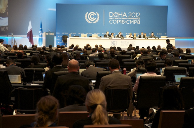 "NEW CLIMATE DEAL? Agreement on the modalities of a Kyoto ""second commitment period"" concluded 12 days of tough haggling in Doha. File photo courtesy of COP18/ CMP8"