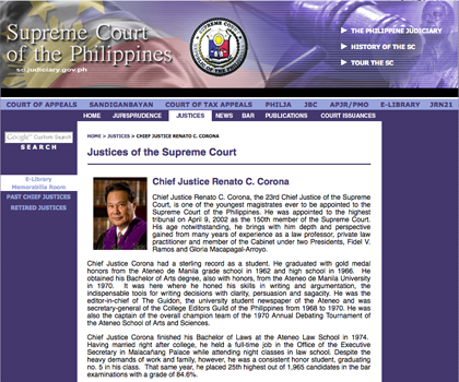 ACADEMIC ACHIEVEMENTS? A screengrab of the Supreme Court website before it was recently altered.