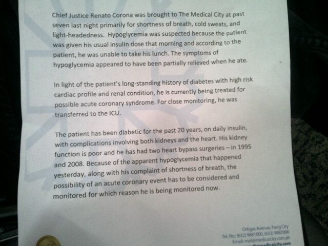 The medical bulletin issued by The Medical City regarding the condition of Chief Justice Renato Corona. Photo by Paterno Esmaquel II.