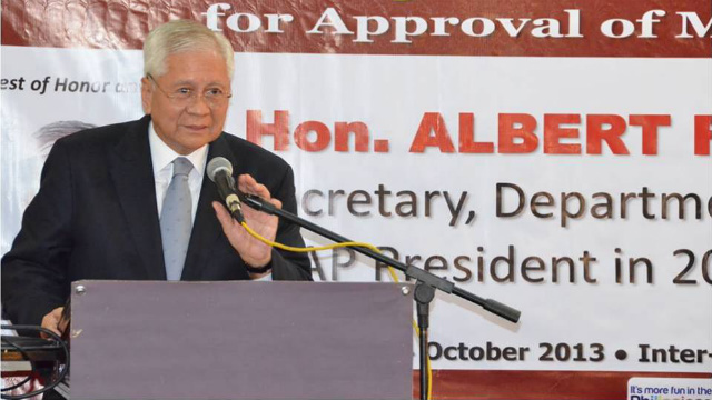NO PROTEST. Foreign Secretary Albert del Rosario says the government has 'no determination of the facts' on the concrete blocks allegedly installed by China. Photo courtesy of the DFA