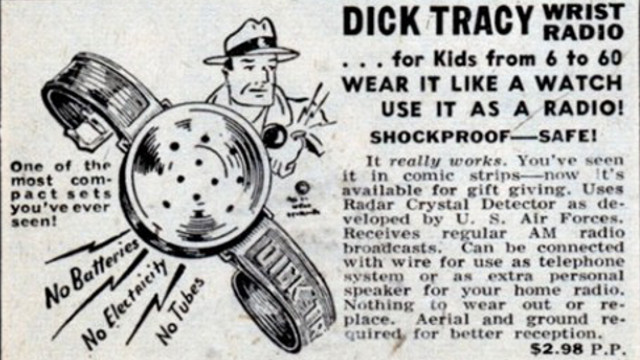 APPLE WATCH? Dick Tracy's radio watch may be getting a 21st century Apple upgrade, if some sources are to be believed. Photo from http://pdxretro.com/tag/dick-tracy-wrist-radio-watch/