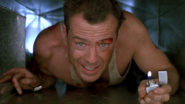 ALWAYS IN A TIGHT FIX. Bruce Willis in the first 'Die Hard.' All photos by 20th Century Fox