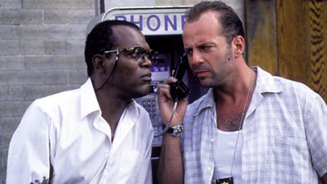 PHONE PALS. Samuel L. Jackson and Bruce Willis in 'Die Hard with a Vengeance'