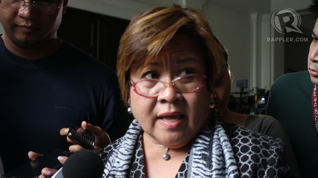 AUTHORIZED? Justice Secretary Leila de Lima said the National Bureau of Investigation will probe who is behind the Quezon killings and if it was an authorized mission. File photo.
