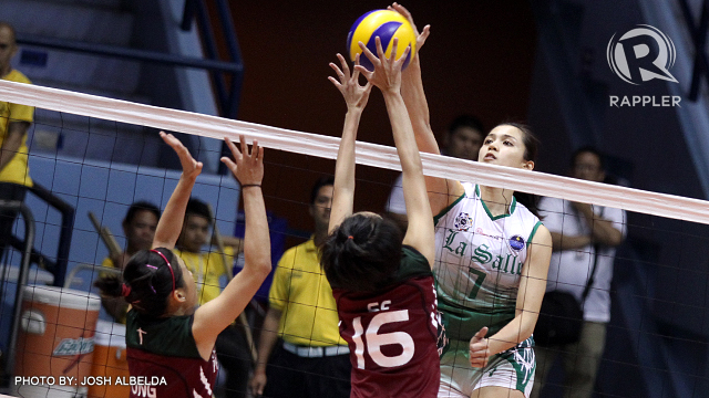 La Salle's Michele Gumabao attacks UP's defense in their win. Photo by Josh Albelda