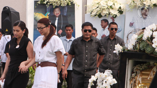 "ZSA ZSA. Dolphy's partner for 23 years is the only one among the mourners donned in black. Most are in white. She clung tightly to Dolphy's coffin before it was shut and placed inside a black stoned crypt. ""Thank you for joining us in taking Dolphy to his final resting place,"" an emotional Padilla told the crowd. ""I love you my lovey. Until we meet again."" Photo by Geric Cruz"