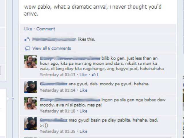DISAPPOINTED? Pablo's arrival doesn't impress some Cebu residents. Screengrab from Facebook