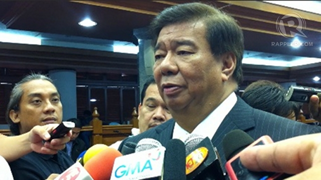 RATIFICATION SOON. Sen Franklin Drilon says Congress will ratify the P2.006 trillion national budget for 2013 after the bicameral conference committee approved it. File photo by Ayee Macaraig 
