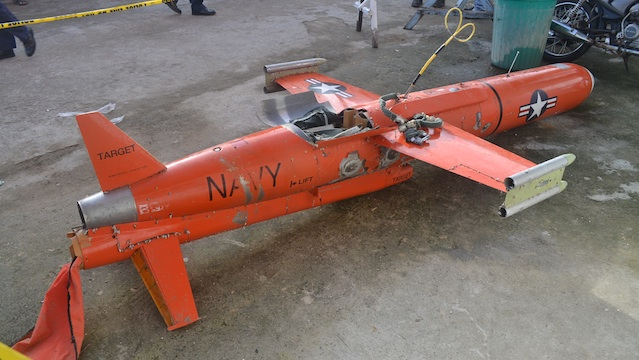 ADRIFT AT SEA. Military officials believe the drone was 'long adrift at sea due to the presence of barnacles' growth on its fuselage.' Photo courtesy of Naval Forces Southern Luzon