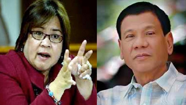 DEFINING MOMENT. Human rights advocates say De Lima's defining moment as CHR chairperson was investigating then Davao Mayor Rodrigo Duterte for his alleged links to the Davao Death Squad. File photos