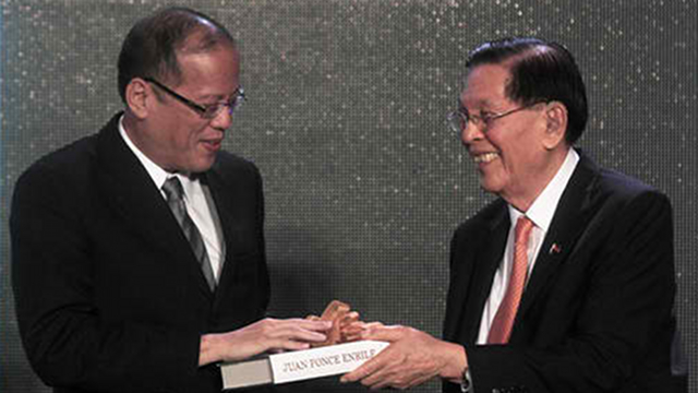 "COMMON GROUND? In his speech at Enrile's book launch, Aquino said, ""We could agree to disagree on the past, but we also discovered we could agree on many things in the here and now."" File photo by Joseph Vidal/Senate PRIB"