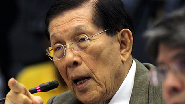"'CALLING A SPADE A SPADE.' Senate President Juan Ponce Enrile admits he refused to give 4 of his critics in the Senate 'further additional funds.' He said, ""I stand by the exercise of my sole discretion."" File photo by Joseph Vidal/Senate PRIB"