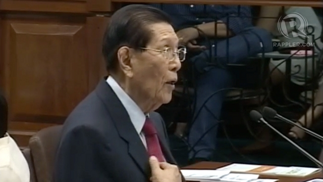 "COWARDS, HYPOCRITES. Enrile says he is way too old to be threatened by ""cowards and hypocrites"" and offers to give up his post but the Senate votes against his motion."