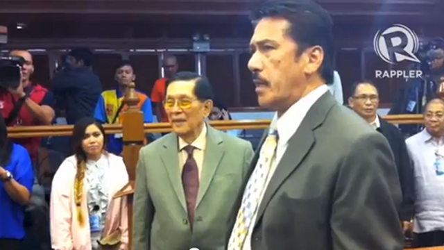 'INVESTIGATE THEM.' Senate President Juan Ponce Enrile (left) says the Senate should investigate members accused of plagiarism, like Senate Majority Leader Vicente Sotto III.