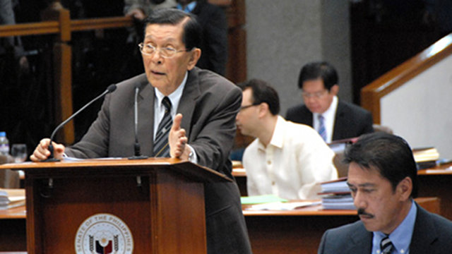 'THE HARDLINERS.' Senate President Juan Ponce Enrile and Sen Sotto have been described as the hardliners against the RH bill. File photo by Joe Arazas/Senate PRIB