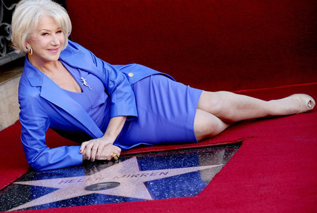 THE QUEEN OF CINEMA AND TV. Helen Mirren beside her Hollywood Walk of Fame star. Photo from the Dame Helen Mirren Facebook page