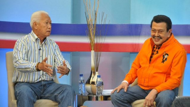 'CRYBABY' VS 'THIEF.' Manila Mayor Alfredo Lim and former President Joseph Estrada trade barbs in ABS-CBN's &quot;Umagang Harapan,&quot; even involving their sons in the face-off. Photo from Lim's Facebook page