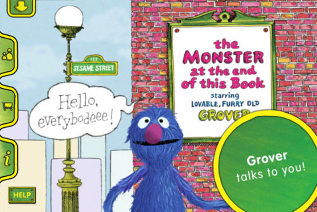 WHO'S THAT MONSTER? 'The Monster at the End of This Book' is written by Jon Stone and illustrated by Michael Smollin. The original book was released in 1971 by Golden Books, USA. The iOS App was released in January 2011. Screen shot from the iTunes app store