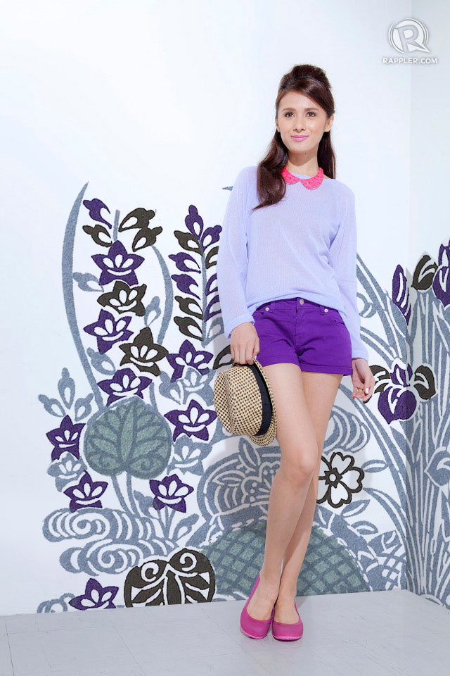 PURPLE PREP. Top and shorts from CottonOn. Necklace from Exenadora. Shoes from Crocs. Hat, stylist's own.