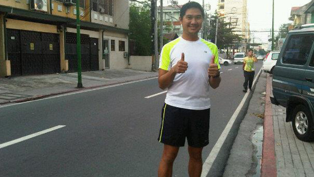 RUN FOR FITNESS. Race organizer and runner Jinoe Gavan of takbo.ph encourages everyone to run. Photo from Jinoe Gavan's Facebook account