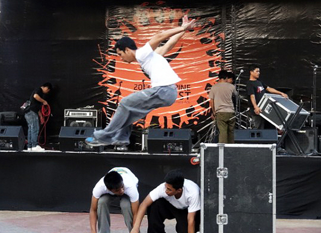 Members of Parkour Philippines (PKPH) perform during the Flow Fest