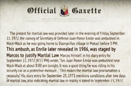 OFFICIAL RECORD. No less than the Official Gazette quotes Enrile as saying his ambush was staged.