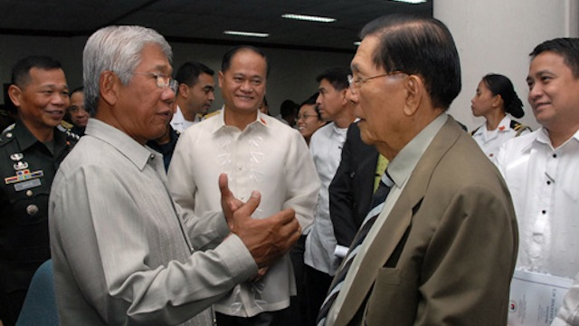 SENATE HEARING: Defense Secretary Voltaire Gazmin and Senator Juan Ponce Enrile. Senate file photo
