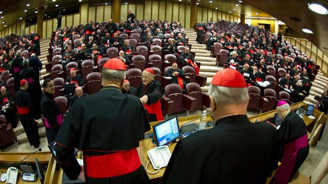 PRE-CONCLAVE MEETING. Bound by secrecy, cardinals meet daily before the conclave to discuss issues faced by the Catholic Church, among others. Photo from news.va's Facebook page