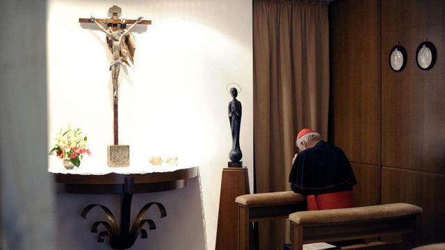 SPIRITUAL ACTIVITY. Cardinals pray for the Holy Spirit's guidance in electing a new pontiff. Photo from news.va's Facebook page