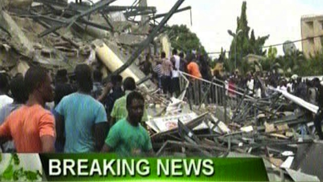 TRAPPED. Rescue teams look for victims under the rubble in Accra. Screen grab from Ghana United Television