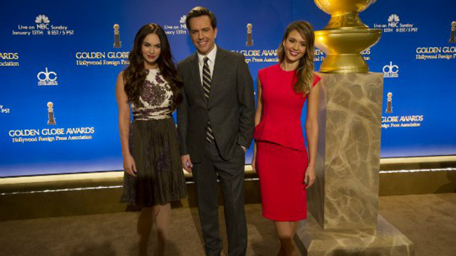 THE PRESENTERS. Megan Fox, Ed Helms and Jessica Alba. Photo from the Golden Globes Facebook page
