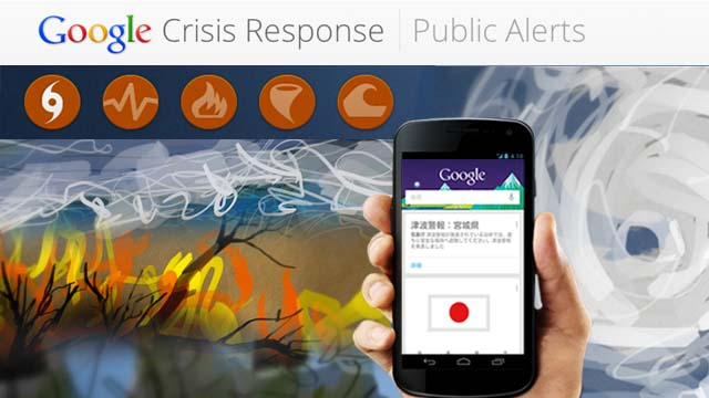 PUBLIC ALERTS. Google launches Public Alerts to help Japan in crisis situations. Screenshot from Google.